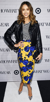 skirt,pencil skirt,midi skirt,floral skirt,jessica alba,pumps,stripes,striped top,jacket,spring outfits,top