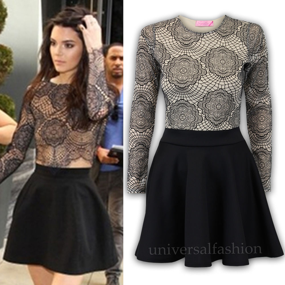 Women Skater Dress Kendall Jenner Celeb Tunic Flared Mesh Summer New | eBay