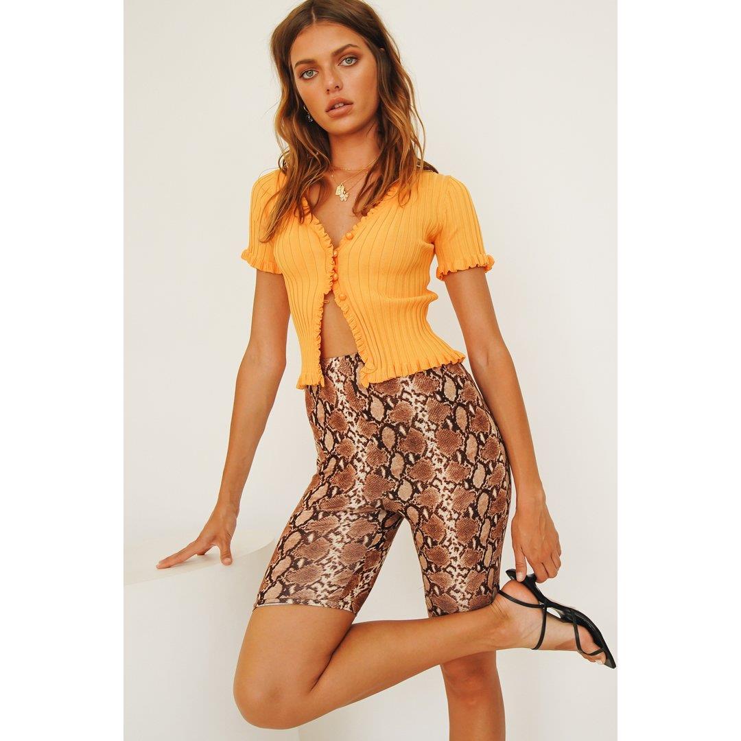 Kit Button Front Knit Top // Orange