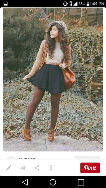 Skirt Skater Skirt Crop Tops Leggings Boots Belt Sweater Fall