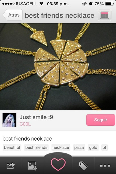 jewels pizza necklace bff bag pizza friendship necklace gold jewelry gold