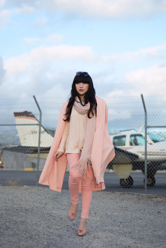 pale division blogger jeans shoes pink baby pink skinny pants pink coat