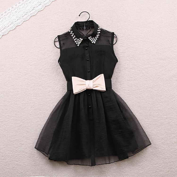 Pearl Rhinestone Small Lapel Gauze Dress-455 L 080201  on Luulla