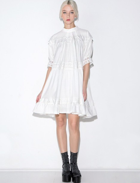 3fad453b907b4 dress white gauze crochet lace babydoll dress babydoll dress white dress  lace babydoll dress crochet dress