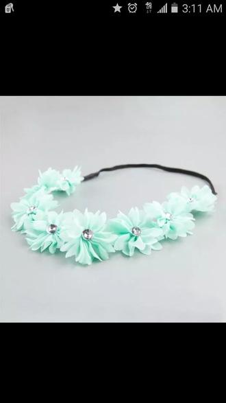 hair accessory new mint headband flower crown hippie headband floral headband beach headband pearl wedding headband