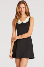 dress,black and white,collar,pearl,lace