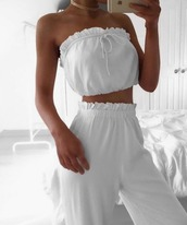 jumpsuit,tie-front top,high waisted,white,ruffle,tube top,bandeau top,jersey