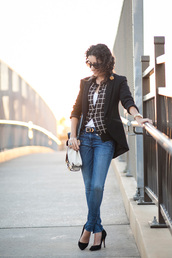 alterations needed,blogger,jacket,cardigan,t-shirt,jeans,bag,belt,sunglasses,jewels,checkered