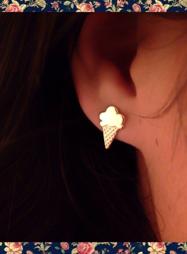 jewels jewelry earrings ice cream gold spring summer