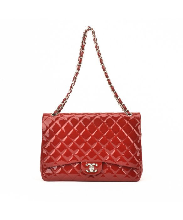 Chanel Authentic Pre-Owned Chanel Red Quilted Patent Leather Maxi Flap Bag | BLUEFLY up to 70% off designer brands