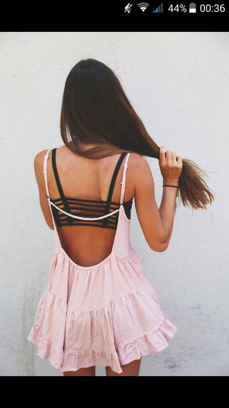 pink dress polka dots underwear dress pink pastel summer light pink top open back black bra black top bralette black bralette salmon color bandeau bra spaghetti strap ruffle backless
