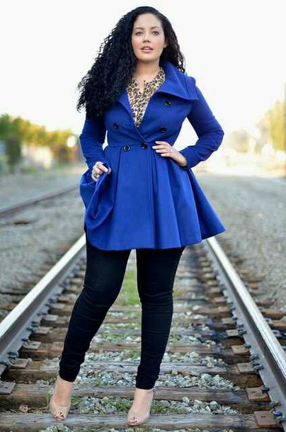Coat: blue coat, plus size coat, pea coat, curvy, swing coat, fit ...