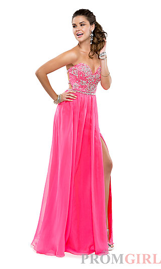 Flirt Long Open Back Strapless Beaded Gown- PromGirl