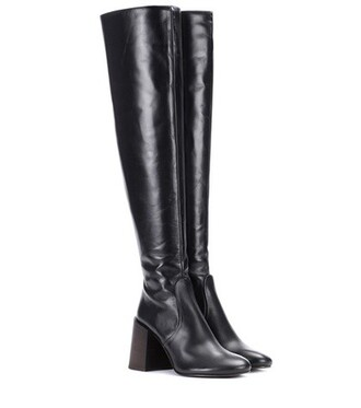 boots leather black shoes