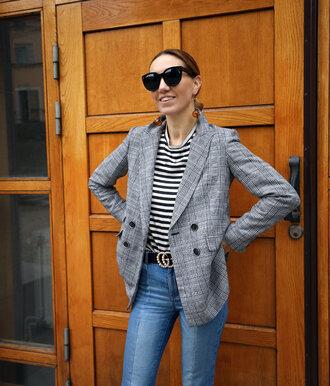 jacket top sunglasses tumblr blazer grey blazer check blazer plaid plaid blazer denim jeans stripes striped top