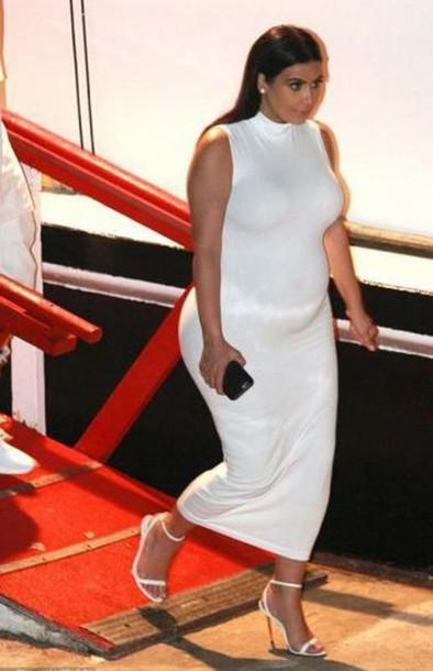 b0f15374876ae dress midi dress white dress kim kardashian sandals bodycon dress maternity  dress celebrities in white