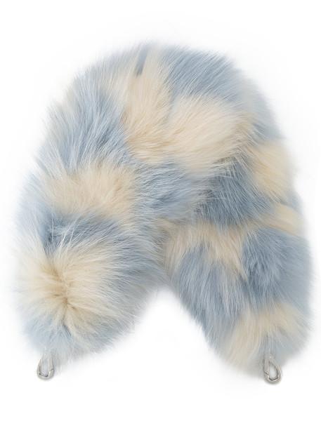 fur fox women bag leather blue cream