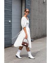 shoes,white boots,ankle boots,leather boots,midi dress,white dress,sunglasses,handbag,dress,short sleeve,earrings