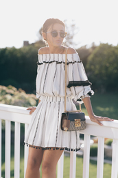 lovely pepa,blogger,jumpsuit,top,dress,shoes,swimwear,off the shoulder,off the shoulder dress,white dress,black and white dress,gucci,shoulder bag,mini dress,sunglasses,sunnies,summer dress,puffed sleeves,bardot dress,puff sleeve dress