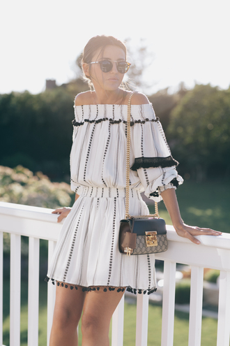 lovely pepa blogger jumpsuit top dress shoes swimwear off the shoulder off the shoulder dress white dress black and white dress gucci shoulder bag mini dress sunglasses sunnies summer dress puffed sleeves bardot dress puff sleeve dress
