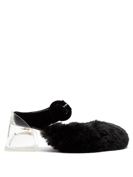 Simone Rocha heel fur mules black shoes