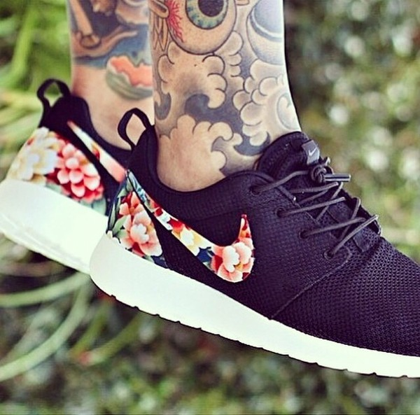 shoes floral nike roshe run nike