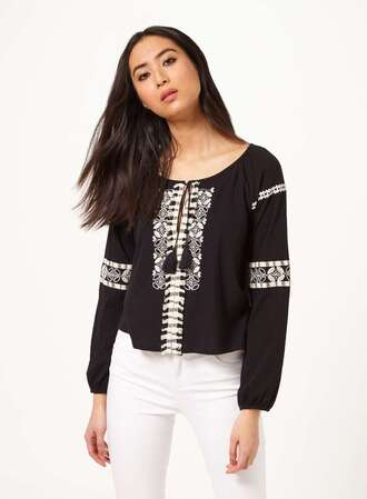 blouse black blouse peasant top black top white details embroidered long sleeves
