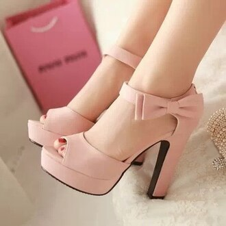 shoes pink shoes ribbon
