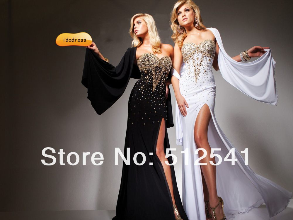 beaded prom out long p two image stud piece dresses femme la cut larger slit