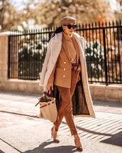 coat,faux fur coat,brown shoes,high heel pumps,pants,high waisted,blazer,turtleneck sweater,bag,black sunglasses