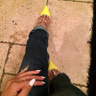 shoes yellow heels nails spikey shoes