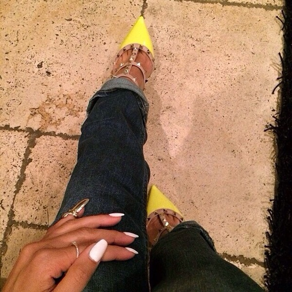 shoes yellow heels nails spiked shoes