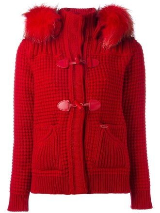 coat duffle coat fur women dog wool red