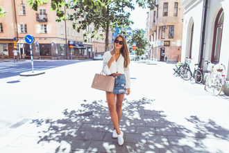 kenza blogger sunglasses asos denim skirt ripped skirt mini skirt white blouse prada bag