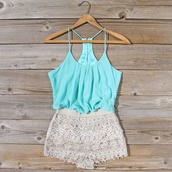 shorts,shirt,romper,mint,pretty,jumpsuit,top,blouse,dress,lace dress,turquoise,white,sexcy,jumpsuit#short