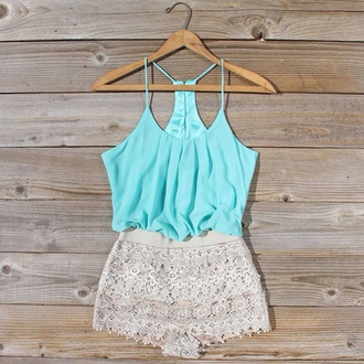 shorts shirt romper mint pretty jumpsuit top blouse dress lace dress turquoise white sexcy jumpsuit#short