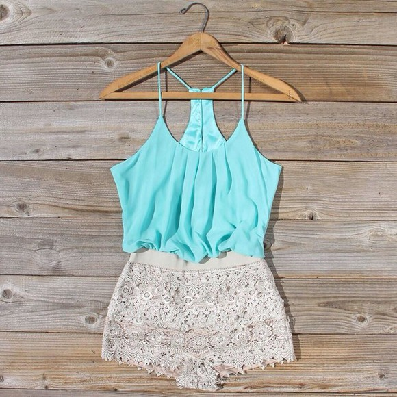 shorts romper rompers mint pretty shirt