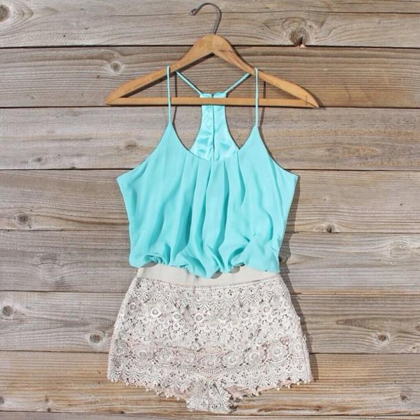 shorts shirt romper romper mint pretty jumpsuit top blouse dress lace dress turquoise white sexcy jumpsuit#short