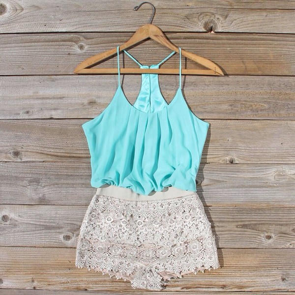 shorts shirt romper romper mint pretty jumpsuit top blouse dress lace dress turquoise white