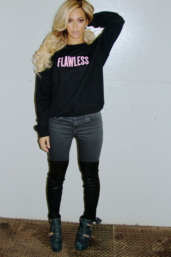 sweater beyonce fashion flawless music pink black hair pants shoes beyonce pretty blonde hair badass sweet girly hot pink light pink nice shirt sweater crewneck sweater crewneck long sleeves