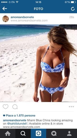 swimwear blue swimwear floral swimwear