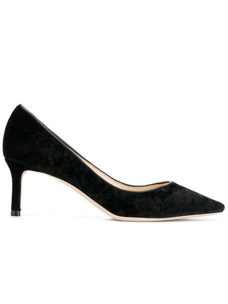 Jimmy Choo women pumps leather black velvet shoes