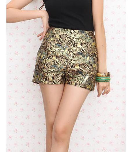 Gold Floral Print High Waist Hot Pants