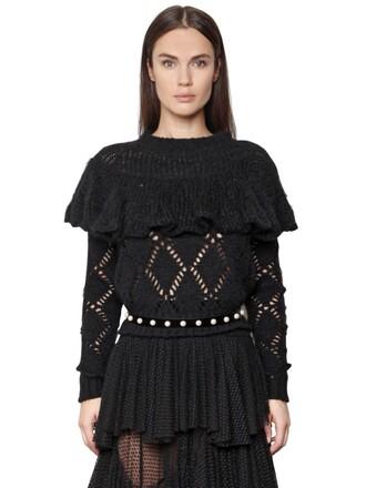 sweater knit open mohair wool black