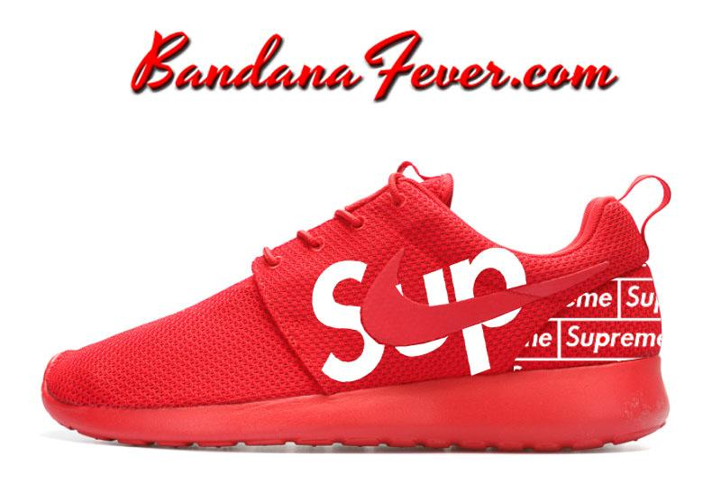 Custom Supreme Nike Roshe Run Shoes Red Fashion Luxury Style By Bandana Fever