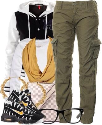 pants camo camo pants dark shoes bag jacket scarf shirt jewels