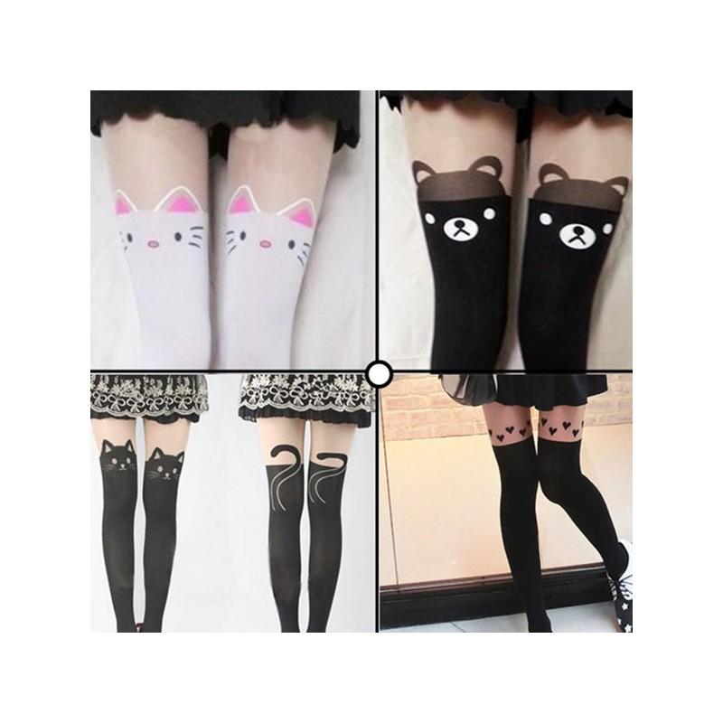 Black stocking lovely over knee tattoo