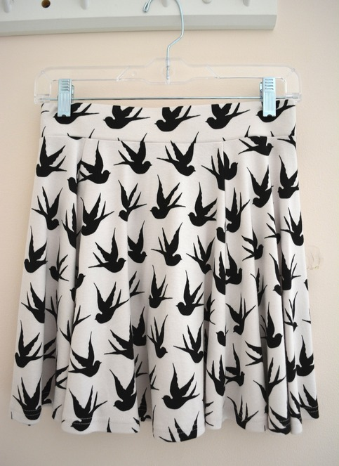 Ivory high waist skirt in bird print from garnet & ivy on storenvy
