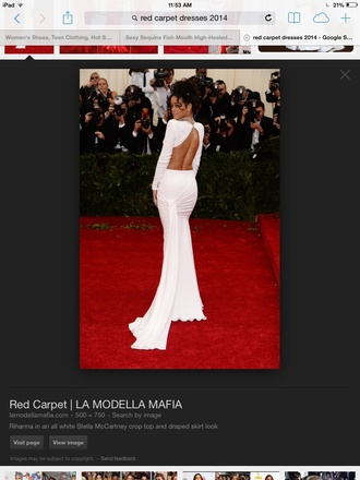 dress rihanna white dress stella mc cartney red carpet dress