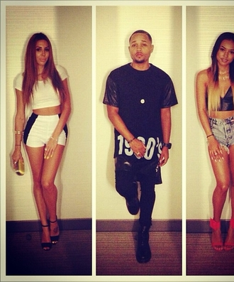 shorts karrueche black and white shorts fashion all black everything blonde hair black and white high waisted shorts brunette top